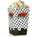 Blue Panda Hero Comic Theme Mini Popcorn Party Favor Boxes (100-Count) - Contenedores de refrigerios para fiestas de cumpleaños, noches de cine - 3x5 pulgadas