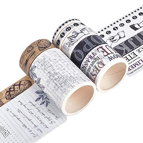 CRASPIRE Washi Tape 7 Rollos de Cinta Adhesiva Decorativa Diferentes Patrones N煤mero Alfabeto Palabras Estrella Planta Gesto Dise帽o Cinta de Envoltura de Regalos para DIY Scrapbooking
