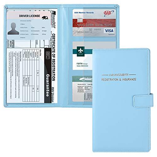GNEGNI Leather Car Registration and Insurance Card Holder,...