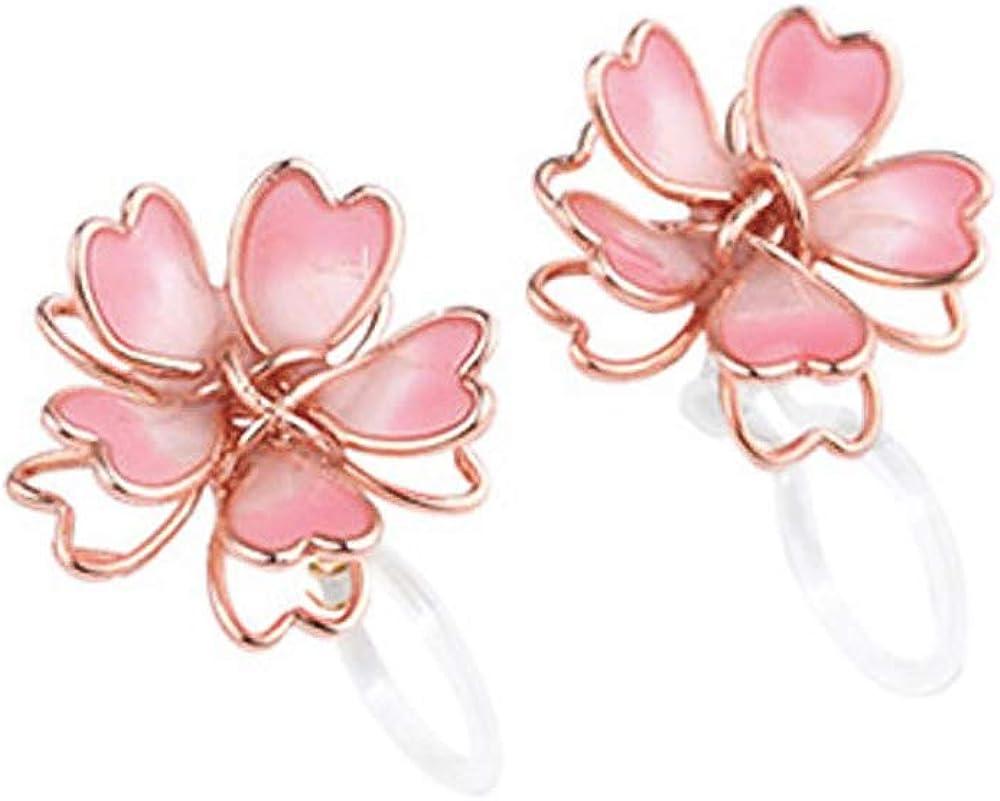 Pure Plastic Sweet Cherry Flower Pink Clip-on/Stud Earrings