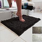 Parpyon® - Alfombra de baño antideslizante, alfombra de ducha, alfombra de baño, alfombra de baño, alfombra moderna, 40 x 60 cm, color negro