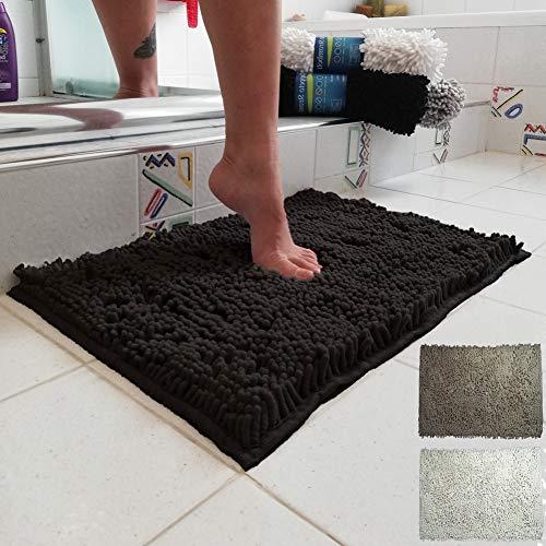 Parpyon® Tappeto bagno antiscivolo, tappeto doccia vasca, tappeti Scendiletto asciugapasso ingresso tappetini bagno lavabile tappeti moderni per casa (102 nero)