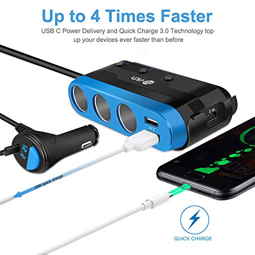 Te-Rich Quick Charge 3.0 & USB C 120W 3-Socket Cigarette Lighter Adapter, 12V/24V Car Power Outlet Splitter Multi Port USB Charger Compatible w/Nexus 6P, Pixel, Galaxy S9/S8/Note 8, iPhone X/8/8 Plus