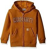 Carhartt Little Boys' Toddler Logo Fleece Zip Sweatshirt, Carhartt Brown, 3T