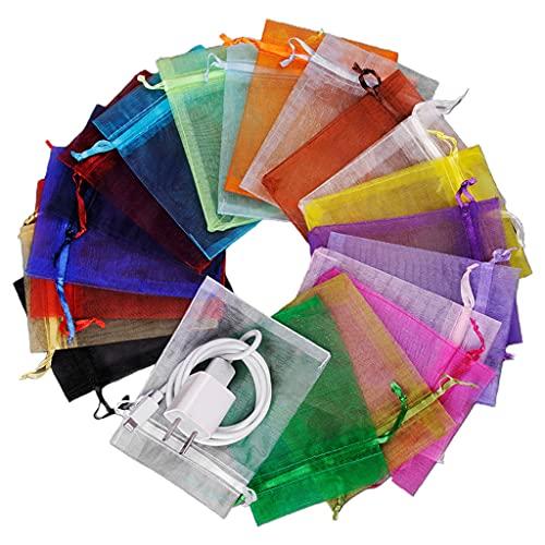 100 bolsas de organza con cordón multicolor para caramelos y fiestas, bodas, regalo