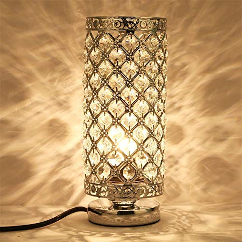 Lámpara de mesa de cristal plateada, mesita de noche, lámpara de mesa para dormitorio, sala de estar, comedor