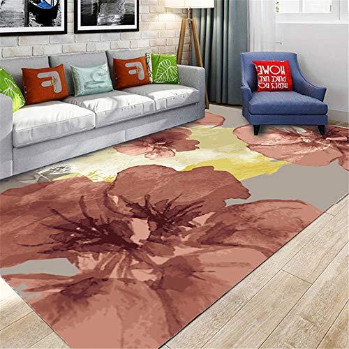 DJHWWD vloerkleed, mooie hygroscopisch tapijt, antislip, woonkamerdeken met roze, abstract, groot bloemendesign, multi-size tapijten