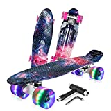 BELEEV Skateboard 22 inch Complete Mini Cruiser Retro Skateboard for Kids Teens Adults, LED Light up Wheels with All-in-One Skate...