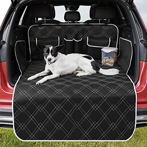 Eyeleaf Telo Auto per Cani Bagagliaio, Protezione Bagagliaio Auto per Cani Impermeabile Copri Baule Auto per Cani Universale Tappeto Auto per Cani Baule con Protezione Laterale per Auto SUV