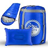 BOLTX Saco de dormir para camping, 210 x 75 cm, azul, cálido, para interior y exterior, incluye cojín de camping para niños y adultos