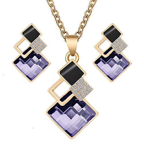 Conjunto De Pendientes De Collar con Colgante De Cristal para Mujer Conjunto De Joyería Conjunto De Collar De Pendiente De Boda Nupcial-Color 5