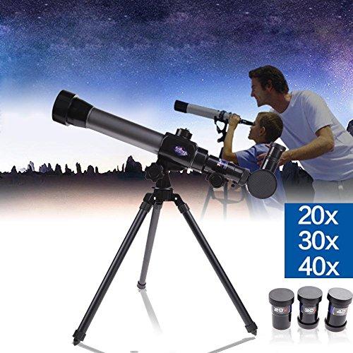 Telescopio astronómico refractor para niños, 20 x 30 x 40 x, combo con trípode
