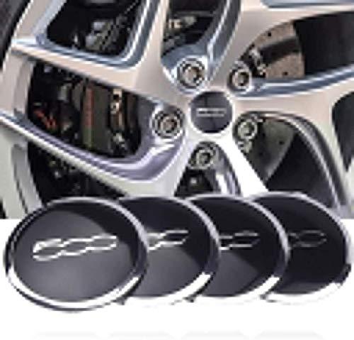 YXZLY 4Pcs 56mm 500 Auto-Rad-Mitte-Naben-Kappen-Mitte-Abdeckungs-Emblem-Abzeichen-Aufkleber, Fit for FIAT 500,...