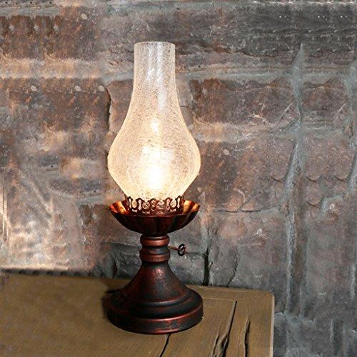 LEGELY tafellamp van glas, E27, wit, nachtkastje / werktafel / tafellamp, retro-stijl, nostalgisch, Chinees, antiek, petroleumlamp van kerosine