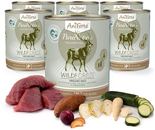 AniForte Hundefutter Nass WildForest 6 x 800g – Nassfutter für Hunde, Frisches Wildfleisch, Gemüse & Früchte, Natürliches Hundenassfutter mit Extra viel Fleisch, getreidefrei & glutenfrei