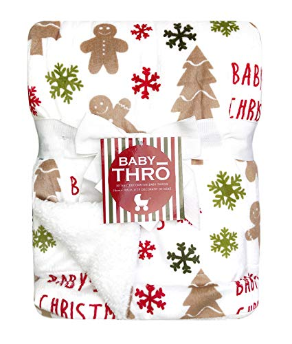 Thro Micromink Decorative Christmas Baby Throw Blanket, 30' x 40' (Ginny Gingerbread Man)