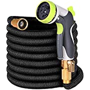 "Ufunga 50ft Garden Hose - Upgraded Expandable Water Hose with Double Latex Core, 3/4"" Solid Brass Fittings,Extra Strength Fabric Flexible Expanding Hose with Zinc Alloy 8 Function Spray Nozzle+Hanger"