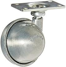 "Shepherd Satellite Series 2"" Diameter Metalen Wiel Caster, 2"" Lengte x 1-3/16"" Breedte Plate, 75 lbs capaciteit, Satijn Ch..."