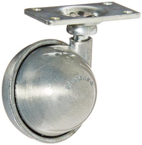 2 Length x 1-3//16 Width Plate Satin Chrome Finish 2 Length x 1-3//16 Width Plate Shepherd Caster Corporation 103832 75 lbs Capacity Shepherd Satellite Series 2 Diameter Metal Wheel Caster