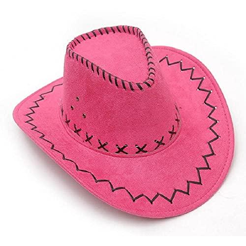 Sonnenhut Strohhut Hut Damen Mode Einfache Retro Cowboyhut Jazzhut Breite Krempe Partyhut-Hot_Pink
