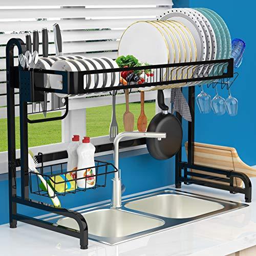 LeaderPro - Escurridor de platos de acero inoxidable 304, estante de cocina, organizador de almacenamiento, estante sobre el fregadero, debajo del fregadero, resistente a la oxidación, estante para goteo de cocina, negro