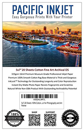 (5-x-7) 20 Sheets 100% Cotton Fine Art Matte Double Sided Inkjet Paper - 16mil 325gsm See Description for Compatibility Info Before Purchase - OBA Free Archival Grade Inkjet Media