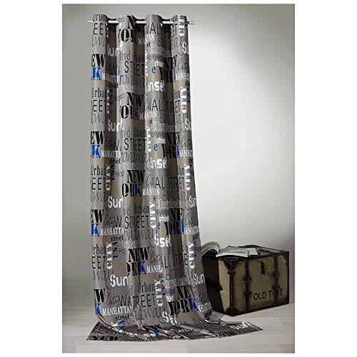 heimtexland Rideau à œillets Urban Chic New York City en Pierre 245 x 140 cm – Rideau décoratif de qualité supérieure pour Un très Beau tombé. Déballez, Accrochez, C'est prêt.