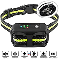 MICROPROCESSOR CONTROLLED BARK DETECTION a break through technology were implemented in the No Bark collar featuring the Intelligent Chip The collar has 5 levels of adjustable sensitivity and 3 training modes beep vibration and gentle safe shock no s...