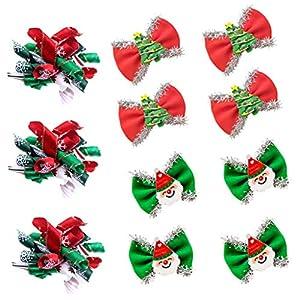 Masue Pets 20pcs/10pairs Christmas Dog Hair Bows with Rubber Bands Dog Curve Bows with Snowflake Dog Bowknot Bows Snowman Combination