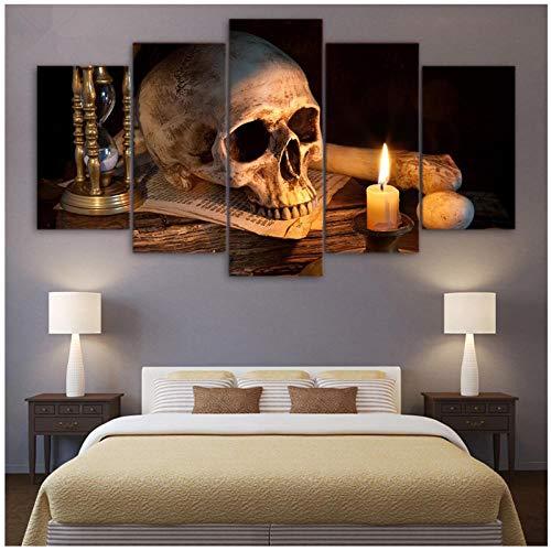 Canvas HD Prints Schilderijen Home Decor 5 Stuks Enge Schedel Brandende Kaars Poster Modulaire Woonkamer Wall Art Pictures / 40x60 40x80 40x100cm geen frame