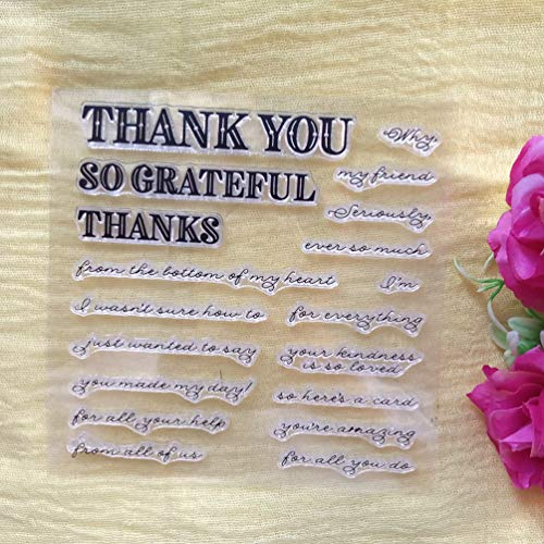 GAOZONGTER Clear Stamps for Card Making and Scrapbooking Words Thank You Grateful Silicone Stamps Transparent Stamps Album Photo Decor