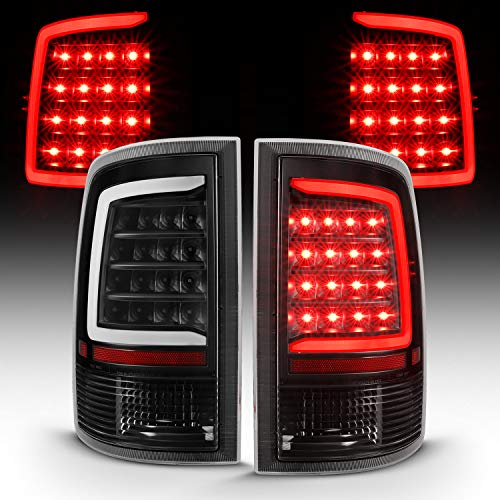 AmeriLite for 2009-2019 Dodge Ram 1500 / 10-19 Ram 2500 3500 Clear Black C-Type LED Tube Replacement Tail Light Assembly Set - Passenger and Driver Side