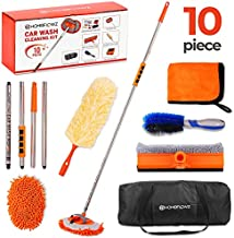 Homeflowz Car Wash Mop Kit [10PC] - Car Wash Brush with Long Handle - 62'' Stainless Steel Pole - Scratch Free Chenille Microfiber Car wash Brush Mitt - Car Mop Washing Kit for RV Cars and Bus