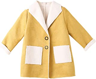 Xifamniy Infant Girls Autumn&Winter Woolen Coat Fashion Lapel Solid Color Baby Jacket