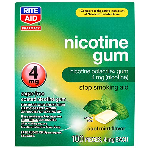 Rite Aid Nicotine Gum, Cool Mint Flavor, 4 mg - 100 Count | Quit Smoking Aid | Nicotine Replacement Gum