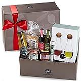 Gepp's Große Bescherung | Geschenkbox mit feinsten Delikatessen und einer Essig & Öl Karaffe aus Glas