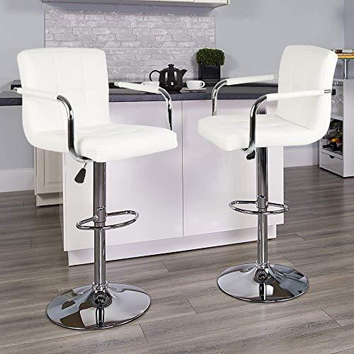 POPSPARK 2×Sgabelli da Bar in Finta Pelle con braccioli e schienali Sgabelli da Cucina girevoli per la Colazione Nuova Sedia Regolabile in Altezza (Bianco)