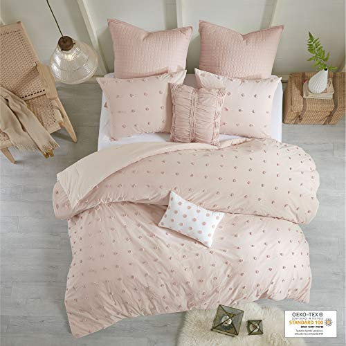 Urban Habitat Brooklyn Comforter Set Full/Queen Size - Pink , Tufted Cotton Chenille Dots – 7 Piece Bed Sets – 100% Cotton Jacquard Teen Bedding For Girls Bedroom