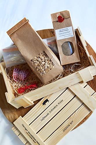 Selfmade Schinken Kiste ★ Starterset zur Schinkenherstellung mit Räucherkit ★ Geschenkidee ★ DIY ★ Thüringer Wurst