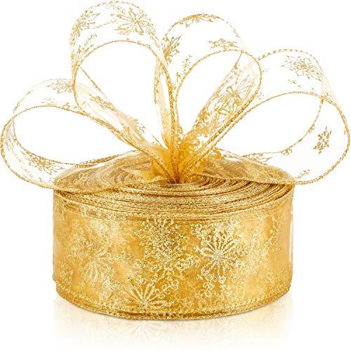 6,3 cm in Breite Organza Band Schneeflocke Verdrahtet Schier Funkeln Band mit Spule für Geschenk Verpackung, Weihnachten Party Dekoration (Gold, 20 m)
