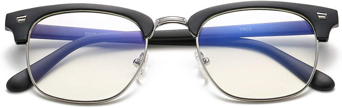 COASION Blue Light Blocking Glasses Semi-Rimless Clear Lens Computer Game Eyeglasses Eyewear Frame