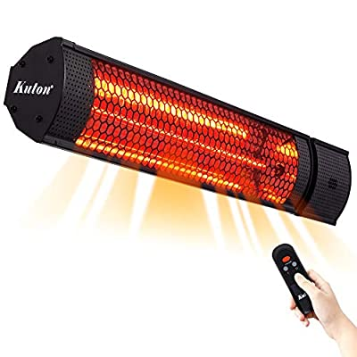 KUTON Electric Patio Heater, Outdoor Heater with Remote Control, Wall Mounted Infrared Heater, IP65 Waterproof Outdoor Heater, Instant Heat with Max. 5118BTU, 2 Heat Setting, Indoor/Outdoor, 1500W
