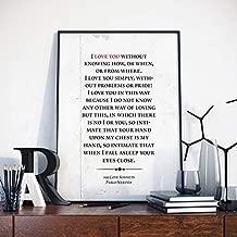 AprilLove 100 Love Sonnets, Pablo Neruda, Pablo Neruda Poem, Pablo Neruda Artwork, Pablo Neruda Wall Decor,