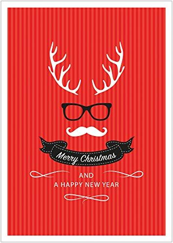 fioniony Coole Moderne lustige Weihnachtskarte |Neujahrskarte im Hipster Retro Look mit Hirschgeweih, Brille, Schnurrbart, Fliege in rot Merry Christmas and a Happy New Year (Mit Umschlag) (8)