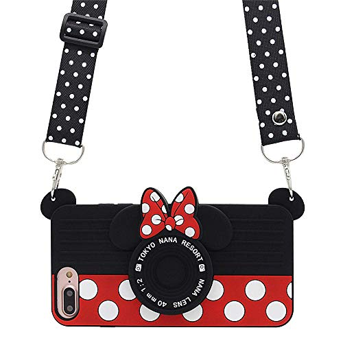 iPhone 8 Plus Case Cute iPhone 7 Plus Case Cute iPhone 6S Plus Case Cute iPhone 6 Plus Case Cute 3D Cartoon Minnie Mouse Camera Cute Case for Teens Girls Women Soft Silicone Cute Phone Cases (5.5')