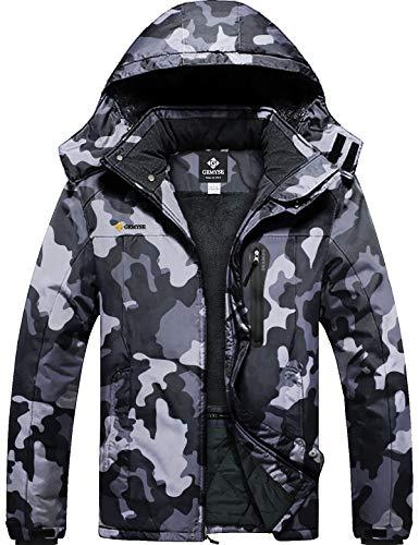 GEMYSE Men's Mountain Waterproof Ski Snow Jacket Winter Windproof Rain Jacket (Camouflage,Large)