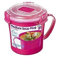 Sistema Tazze per zuppa da microonde, plastica, Rosa, 14.2 x 11.4 x 11.9 cm