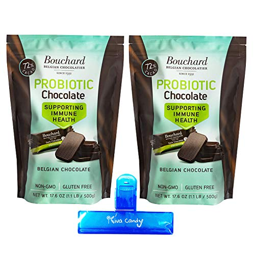 Bouchard Probiotic Belgian Dark Chocolate Bites Supporting Immune Health - 72% Cacao, Non-GMO, Gluten Free - 17.6 Oz (2 Pk) - 2.2 LB, 200 Pieces, Individually Wrapped Perfect Bite Size Pieces