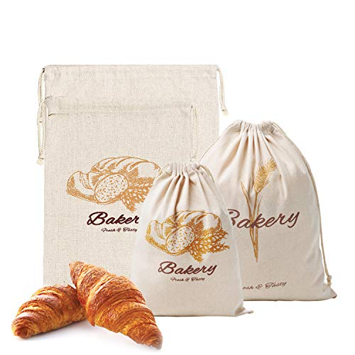 Bread Bags, Pack of 4 Large Linen Bags for Homemade Bread, Natural Reusable for Vegetable, Nuts, Snacks, Coffee Beans Food Storage,Organization Bags for Bakers