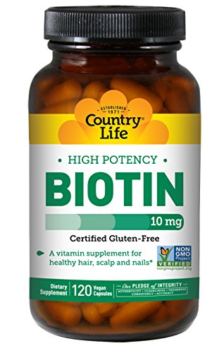 Country Life High Potency Biotin 10mg Essential B Vitamin - Healthy Hair, Skin, Scalp & Nails Support Supplement - Promotes Clean Energy - Non-GMO, Gluten-Free, Vegan, Kosher - 120 Vegan Capsules Country Life